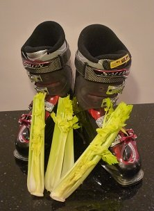 Ski boots and celery